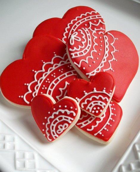 Love suhana valentine 3 henna heart cookies