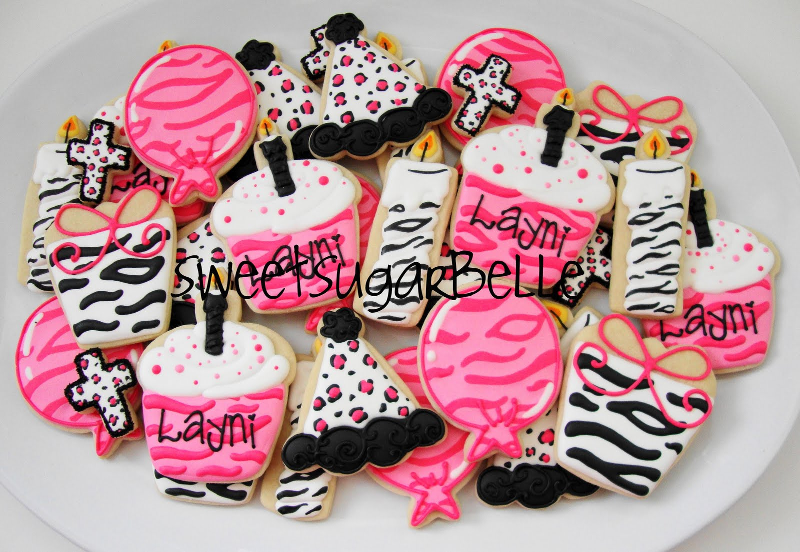 Girly And Bright Animal Print Birthday Platters The